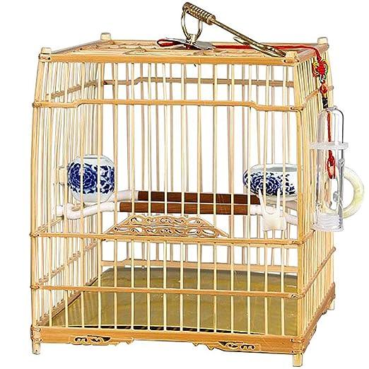 BTRI La Jaula de pájaros de Interior del Portador de Aves de bambú ...