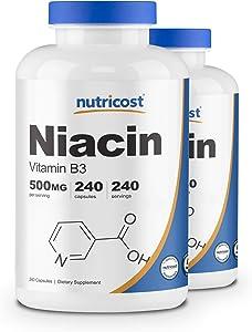 Nutricost Niacin (Vitamin B3) 500mg, 240 Capsules (2 Bottles)