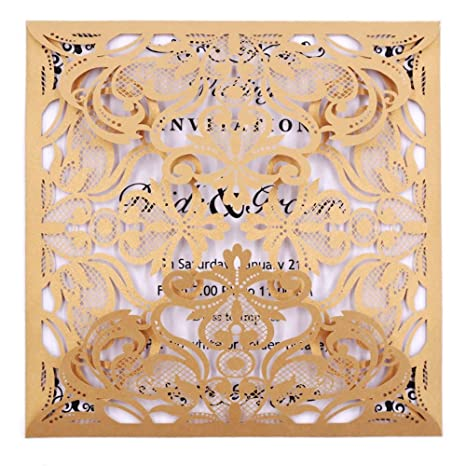amazon com laser cut invitations 50 pack fomtor laser cut wedding