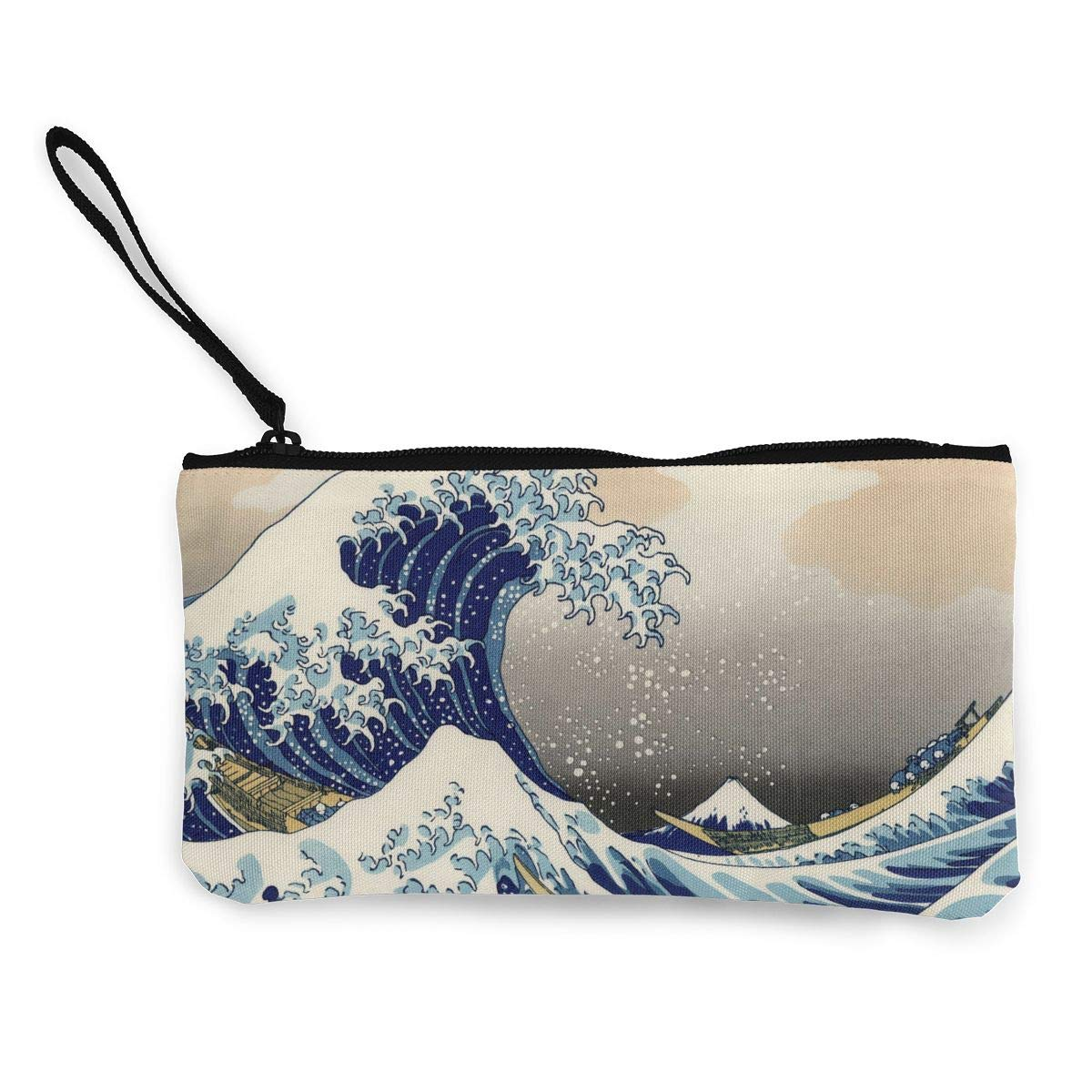 Maple Memories Japanese Style Seawave Portable Canvas Coin Purse Change Purse Pouch Mini Wallet Gifts For Women Girls