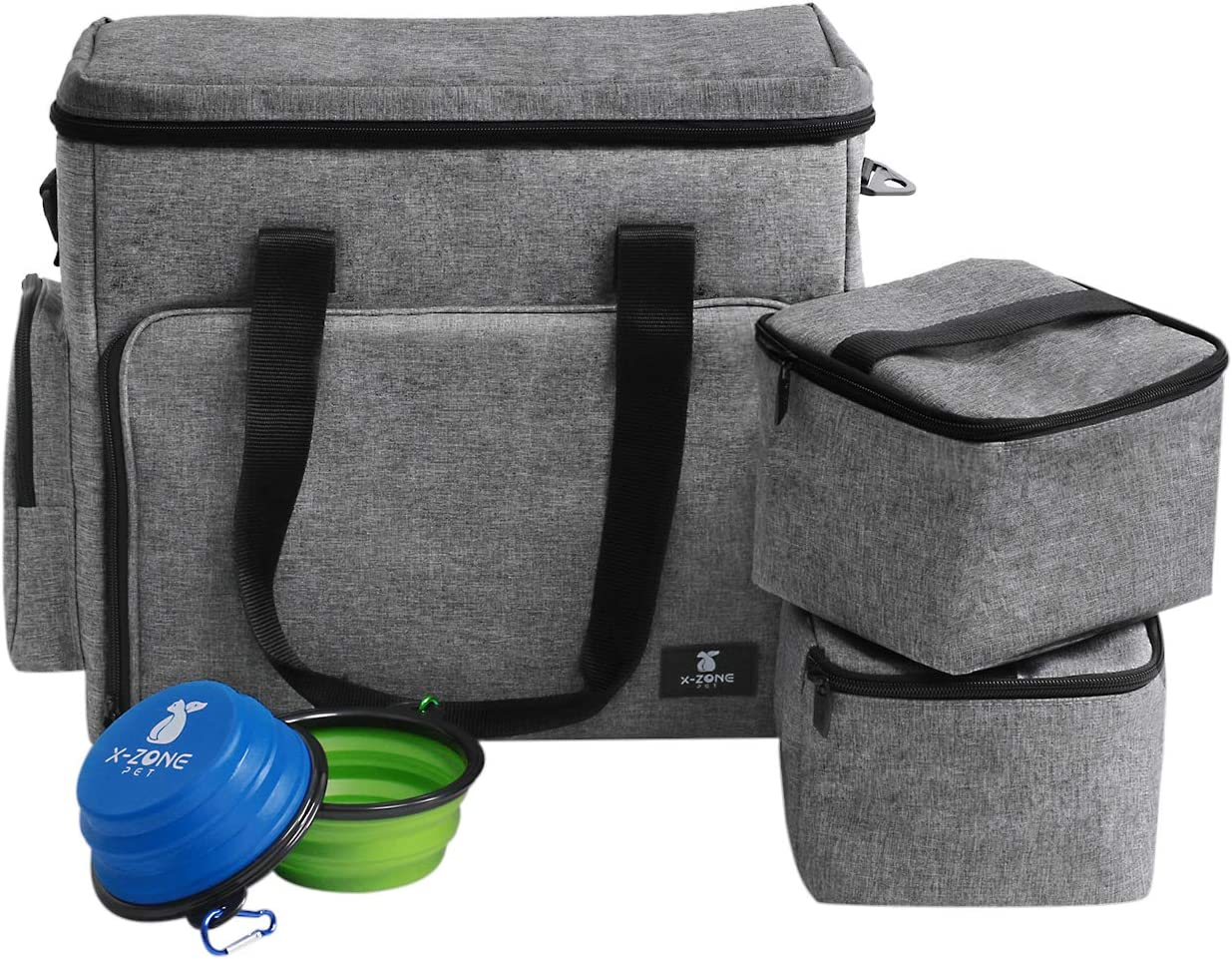 X-ZONE PET Dog Travel Bag Airline Approved Luggage Bag with Multi-function Pockets Includes 1Pet Travel Bag 2Dog Food Carrier Bag 2Pet Silicone Collapsible Bowls Perfect Weekend Pet Travel Set for Pet