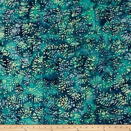 Indian Batik Moody Blues Fern Leaf Blue Fabric By The Yard
