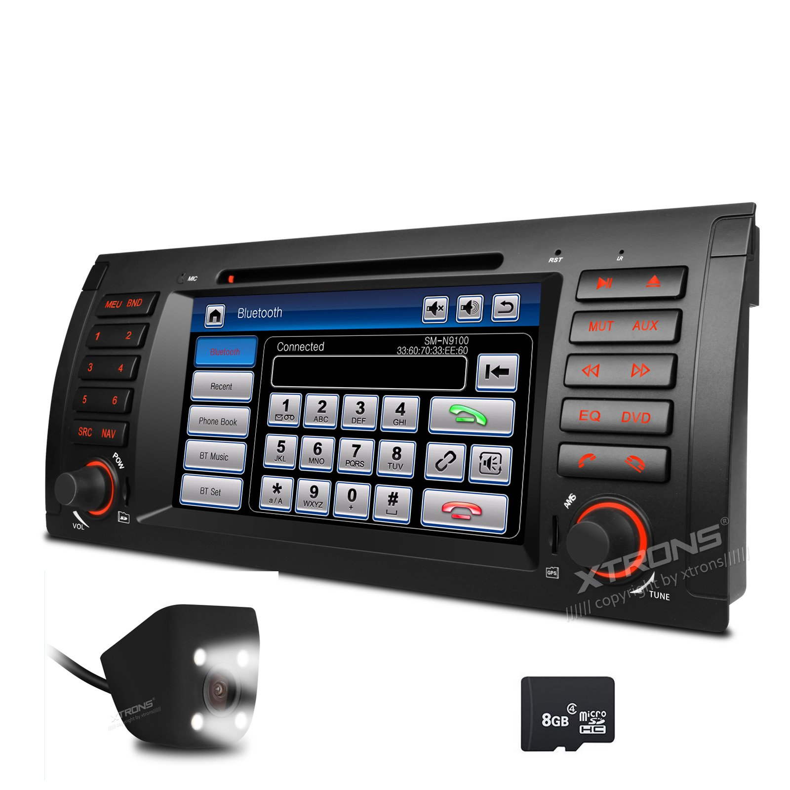 XTRONS 7 Inch HD Digital Touch Screen Car Stereo Radio In-Dash DVD Player with GPS CANbus Screen Mirroring Function for BMW E53 X5 Navigation Map Card & Reversing Camera Included by XTRONS (Image #1)
