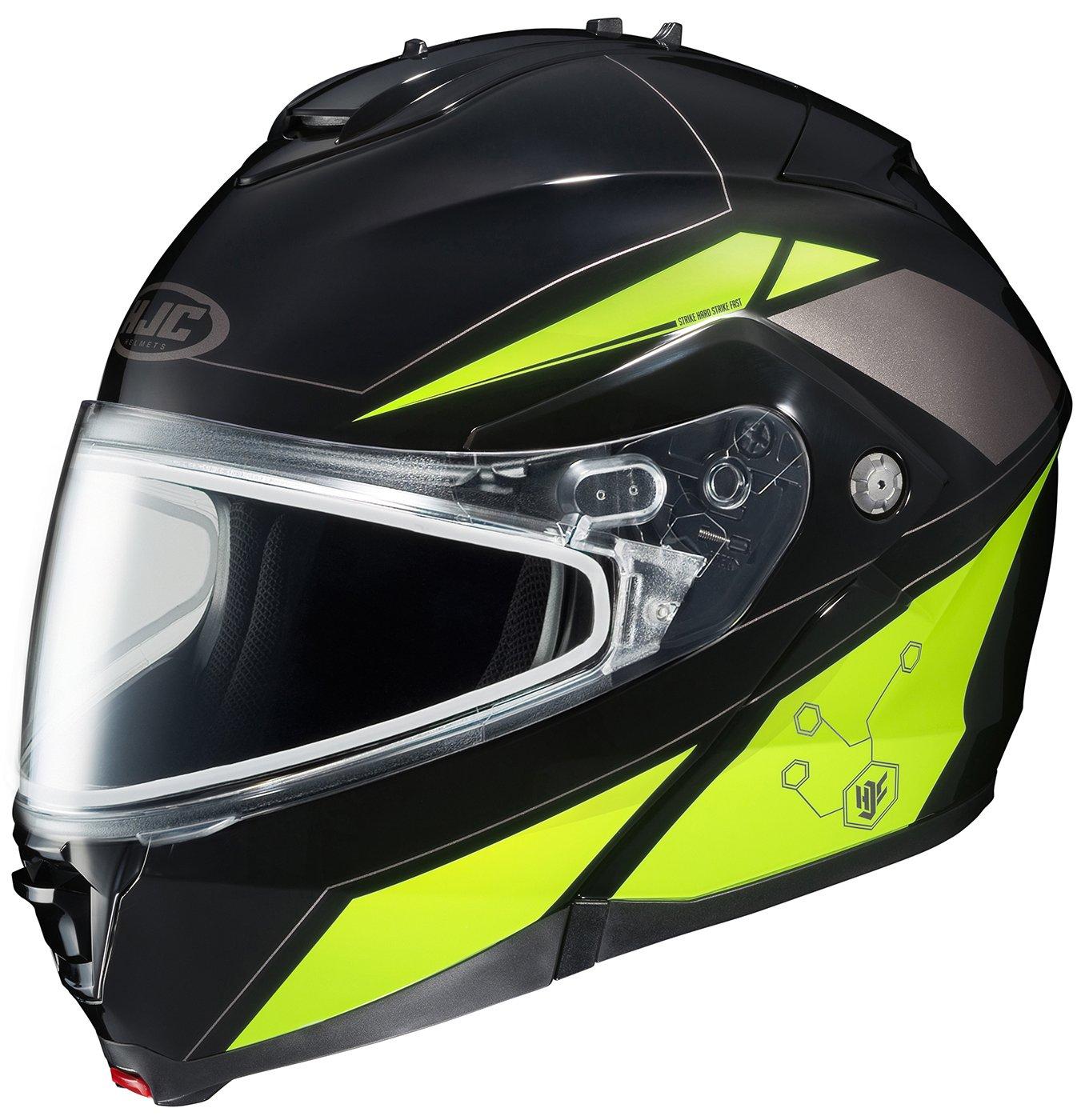 HJC IS-MAX2SN Elemental Modular Snow Helmet Frameless Dual Lens Shield (MC-3H Hi-Viz Neon Green, 4X-Large)