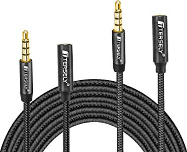 TERSELY 3.5mm Gold-Plated Audio MIC 4-Pole Extension Cable Aux Cord, [2 Pack] 1M/2M (3FT/6FT) Nylon Braided Male to Female for Headphones,Car Home Stereos,Speaker,iPod,Samsung,Sony,Tablets & More