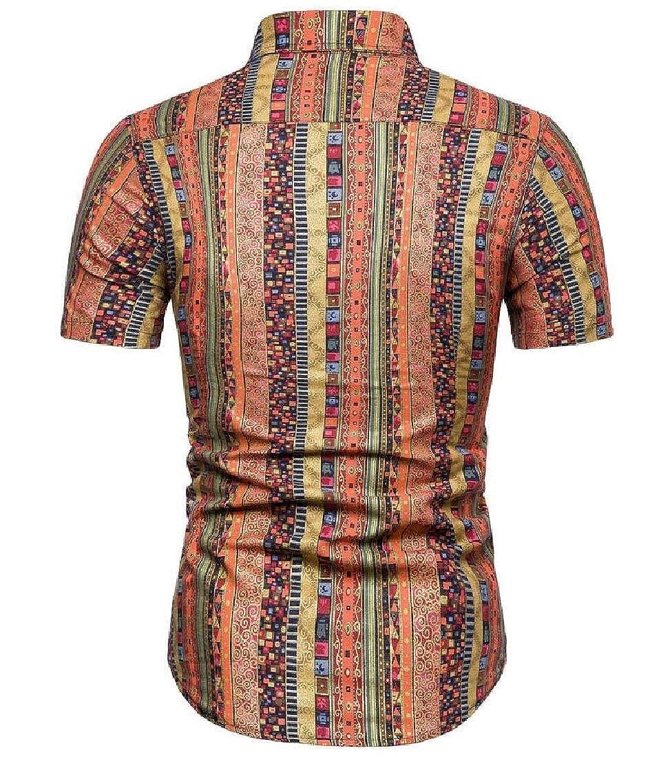Pandapang Men All-Match Ethnic Style Short Sleeve Button Down Print Shirt
