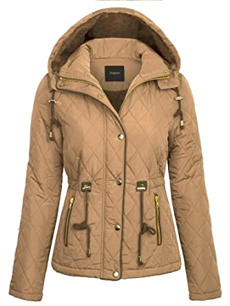 5add8bbf874 KOGMO Womens Fur Lined Lightweight Zip Up Quilted Jacket with Detatachable  Hood-S-Camel