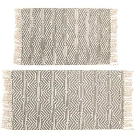 Delightful HEBE Area Rug Cotton 2 Piece Set Woven Cotton Area Rugs Runner Machine Washable  Cotton Rug