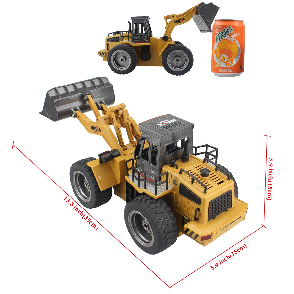 Fistone RC Truck Alloy Shovel Loader Tractor 2.4G Radio Control 4 Wheel Bulldozer 4WD Front Loader Construction Vehicle Electronic Toys Game Hobby Model with Light and Sounds by Fistone (Image #1)