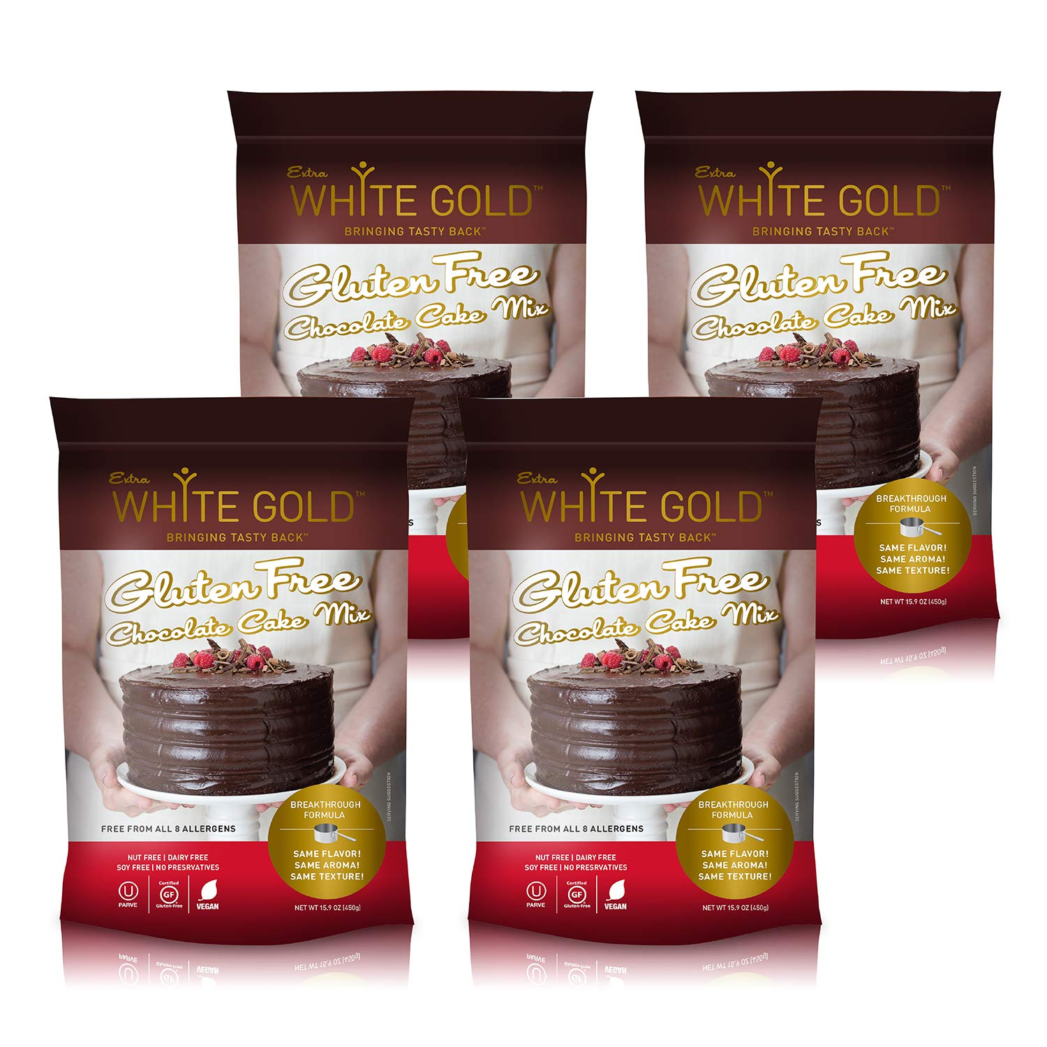 Extra White Gold Gluten Free Chocolate Cake Mix - For Baking Cakes Cupcakes Desserts - [Kosher] [Gluten Free] [Vegan] [Soy Free] [Nut Free] [Dairy Free] - 15.9 Ounces (4 pack) by Extra White Gold