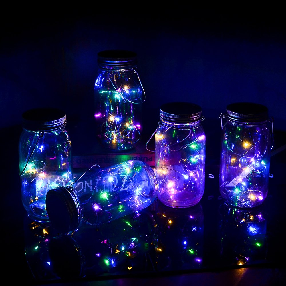 Yzan 5-Pack Solar Mason Jar Lights-10 Bulbs Multicolor Hanging Fairy Firefly Lights Fit for Regular Mouth Jars with 5 Handles and 10 PVC Cards for Christmas Decor Table (Jars Not Included) by Yzan