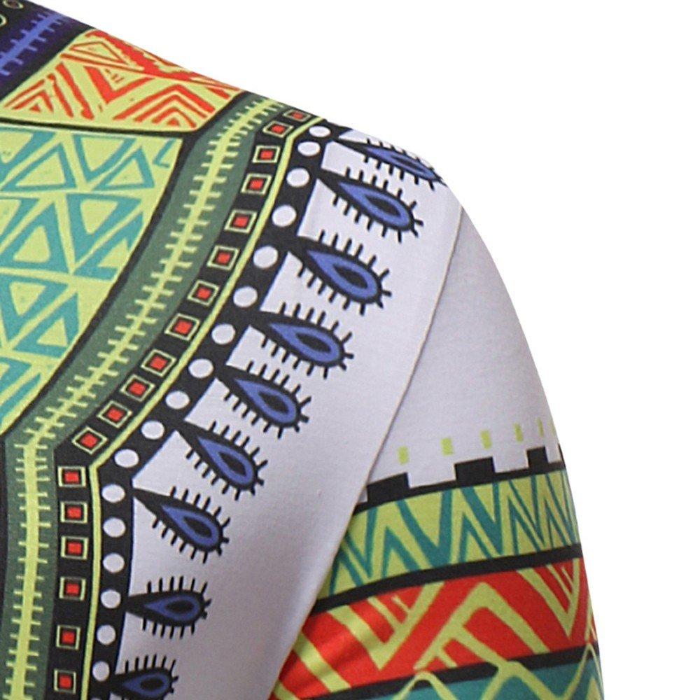 UJUNAOR Maglietta A Maniche Corte Uomo,Maniche Corte Etniche in Stile Africano,Elegante Stampato Floreale,Slim Fit,Primavera-Estate 2019,M-2XL