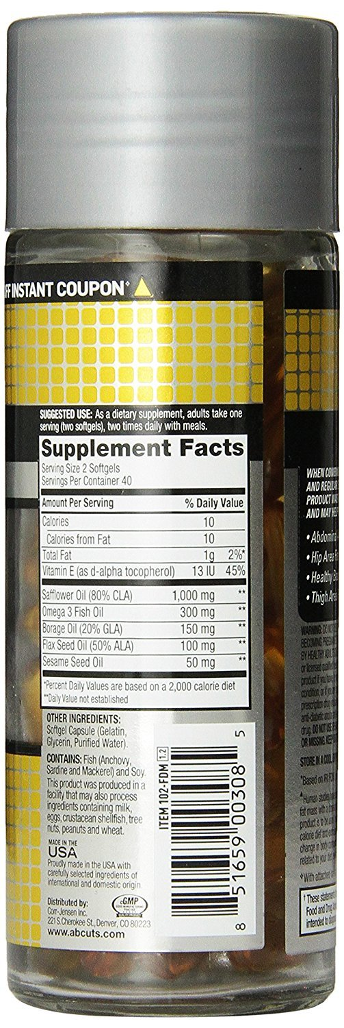 Ab Cuts CLA Belly Fat Formula, 120 Softgels by AbCuts