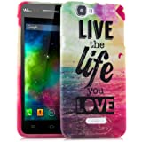 kwmobile Hülle für Wiko Rainbow - TPU Silikon Backcover Case Handy Schutzhülle - Cover Live the Life Design Mehrfarbig Pink Blau