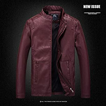Amazon.com: 2018 Mens Business Leather Jacket Hider Zipper Neck Bomber Jacket Moto Pullover Coat Zulmaliu: Clothing