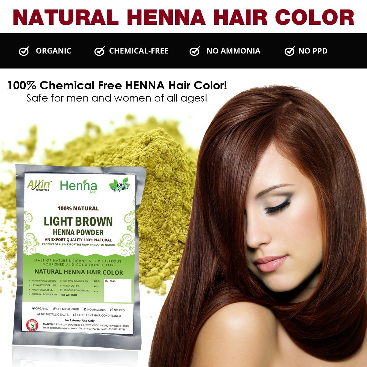 Amazon Light Brown Henna Hair Color 100 Organic And