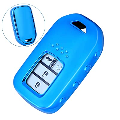 Junwei Car Key Case, TPU Key Fob Shell Cover for Honda Accord Ridgeline Civic CR-V Full Protector Fit 4 Buttons Smart Remote Keyless Fob Holder Car Accessory Soft (Blue)