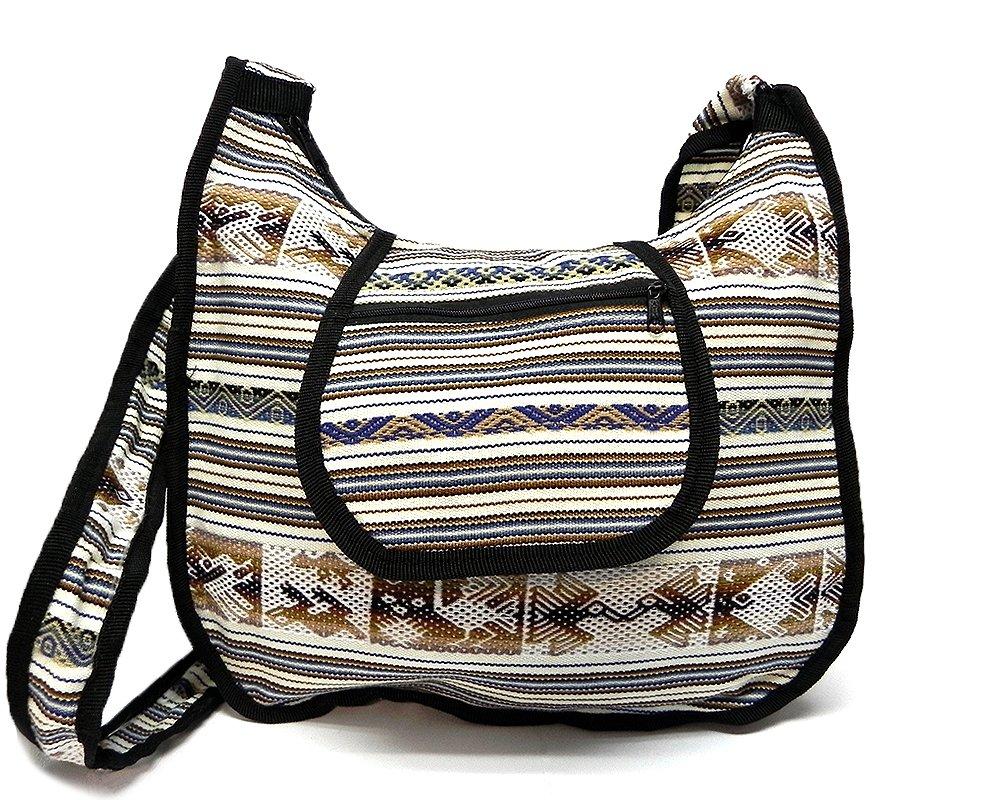 Large Peruvian Tribal Print Striped Pattern Casual Fashion Travel Messenger Purse Bag w/Zipper Flap Pocket & Crossbody Strap (Off-White/Navy/Brown)