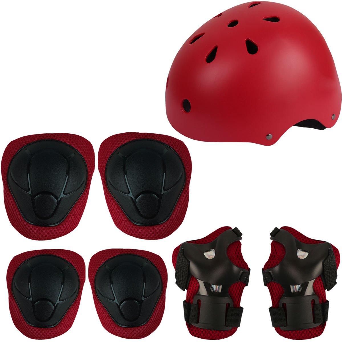 Herbalcandybox Kid's Protective Gear Set with Wrist Guard Knee Pads Elbow Pads Helmet,Red