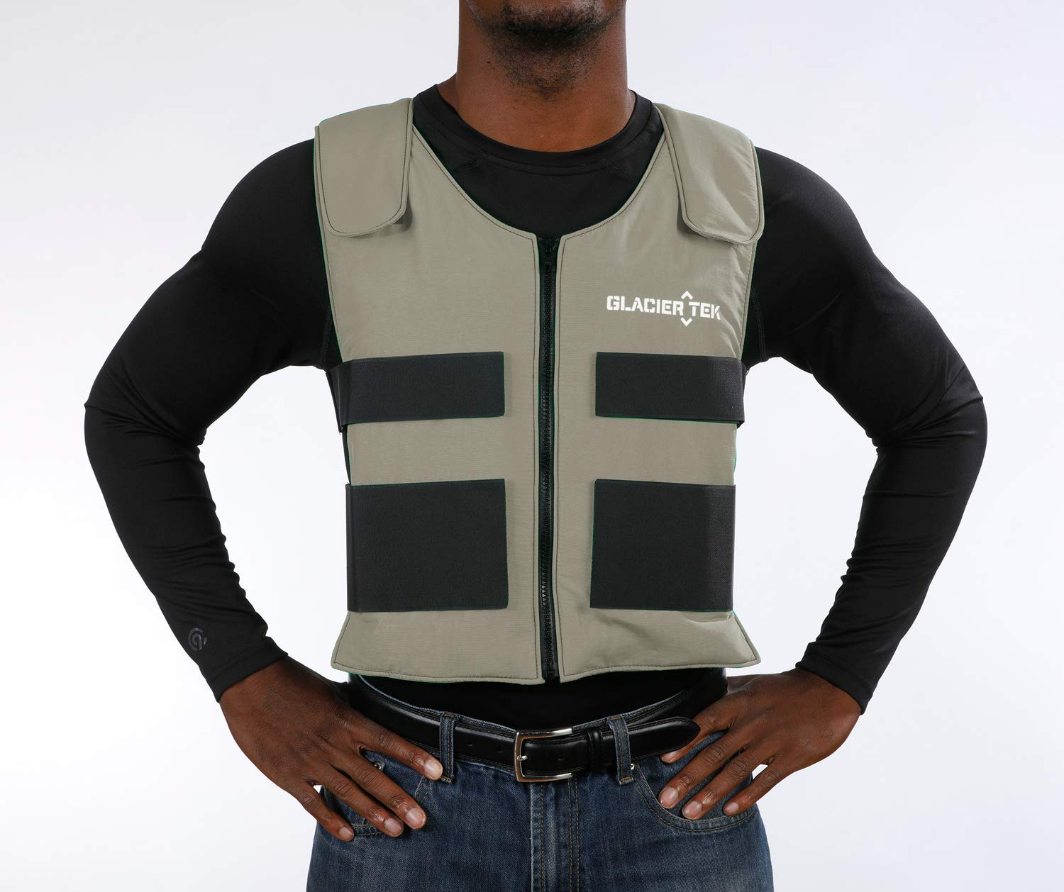 Glacier Tek Sports Cool Vest with Set of 8 Nontoxic Cooling Packs Gray
