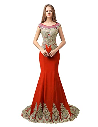 Sarahbridal Womens Embroidery Lace Prom Dresses Mermaid Formal Evening Gowns Long Red US2