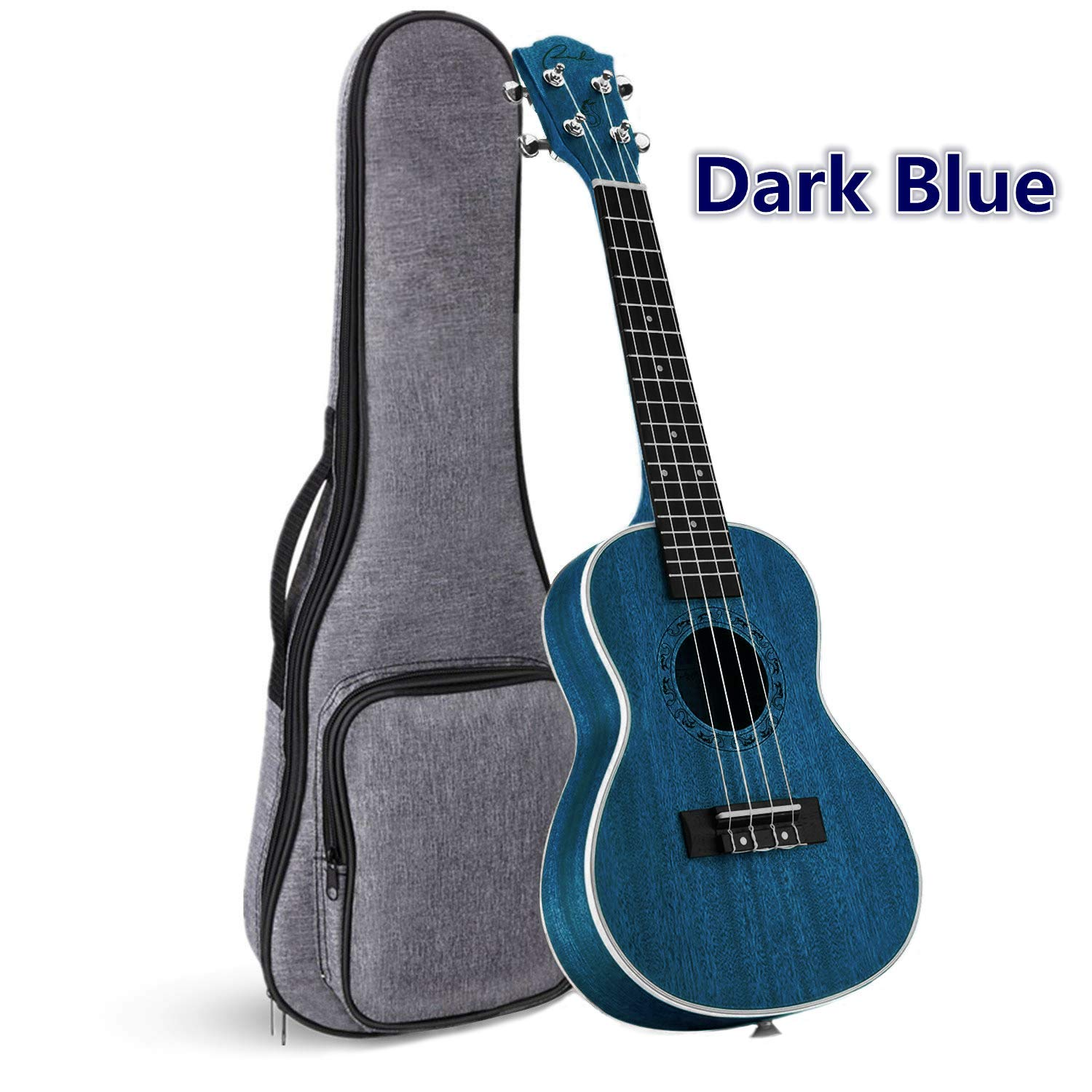 Concert Ukulele Ranch 23 inch Professional Wooden ukelele Instrument with Free Online 12 Lessons and Gig Bag - Small Hawaiian Guitar - Dark Blue