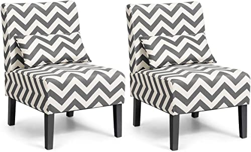 Giantex Set of 2 Armless Accent Chair w/Back Pillow