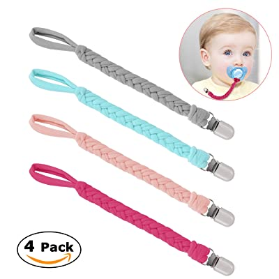 Pacifier Clips, Teething Ring Holders for Boys and Girls, Universal Flexible Holder Leash for Pacifiers, Baby Teething Toy, Soothie By Hand-Made Braided(4-Pack)