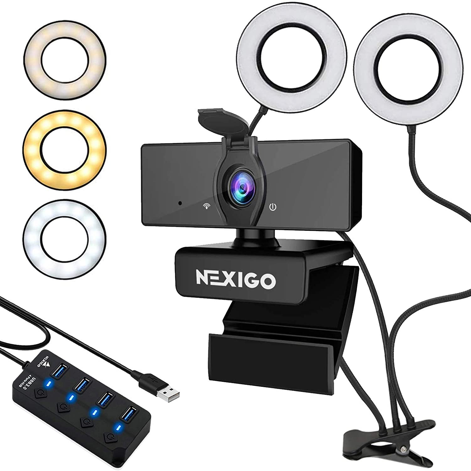 1080P Streaming Webcam with 2ft USB Hub Switch, Microphone, Dual 3.5 Inch Selfie Ring Light, Mount Stand, and Privacy Cover, for Streaming Online Class, Zoom Skype MS Teams, PC Mac Laptop Desktop