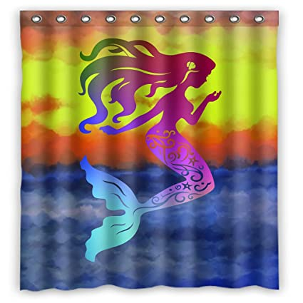 GCKG Mermaid Shower Curtain 66quot X 72quot Waterproof Polyester Fabric