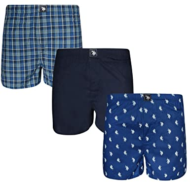 8ca480d90 U.S. Polo Assn. Men s Woven Boxer Underwear with Functional Fly (3 ...