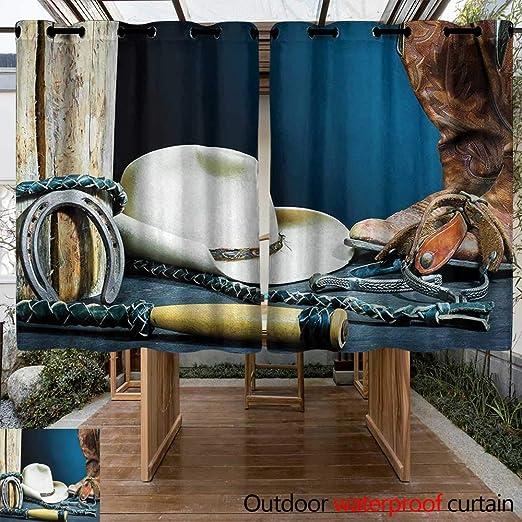 Onefzc Cortina de Puerta corredera con diseño de Herradura Antigua, para fotografía de Vaquero de Texas, Impermeable, Panel de Puerta de Patio, Color Azul, marrón y Beige: Amazon.es: Jardín