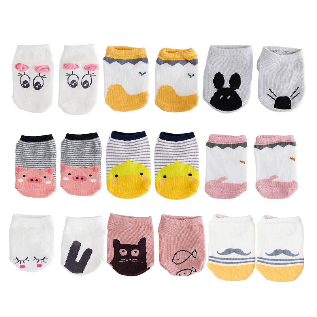 fygood–Lote de 9pares calcetines bebé algodón suave antideslizantes Set A Talla:0-2ans/longueur de base 10cm