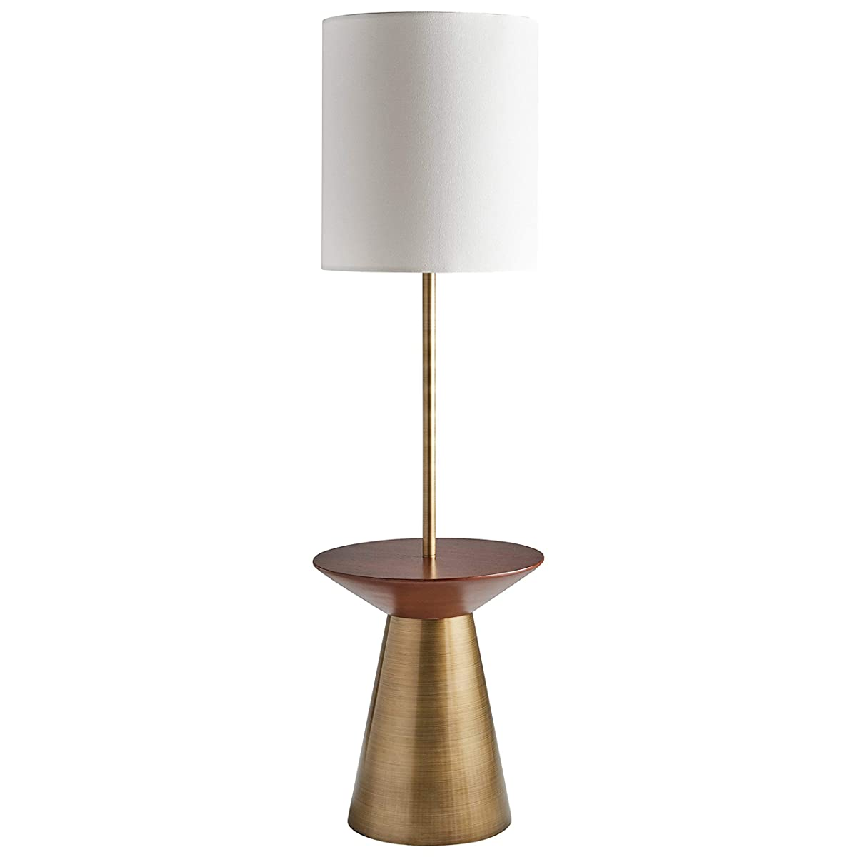 "Rivet Modern Floor Lamp with Shelf, 60""H, With Bulb, Brass with Linen Shade"