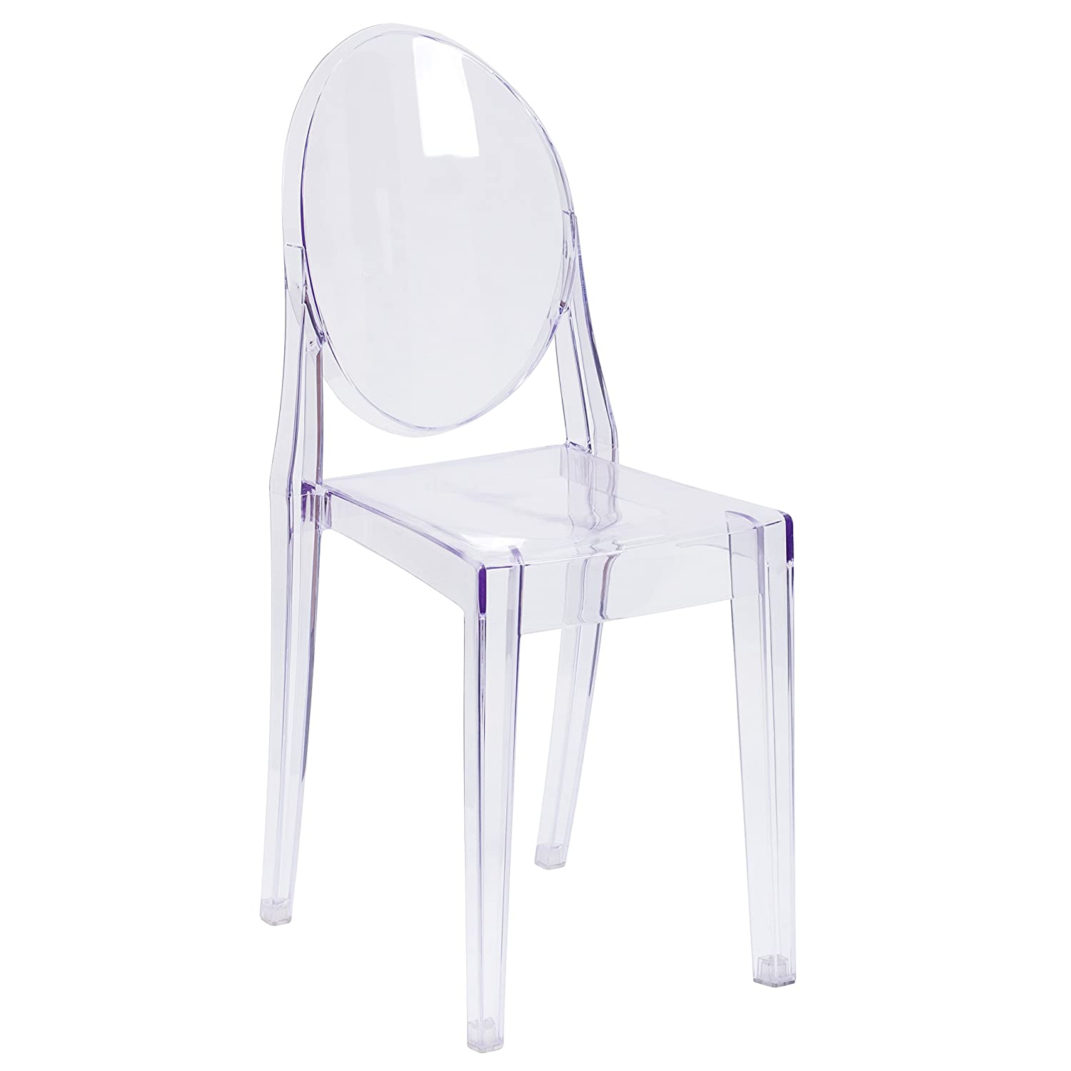 Flash Furniture Ghost Side Chair in Transparent Crystal