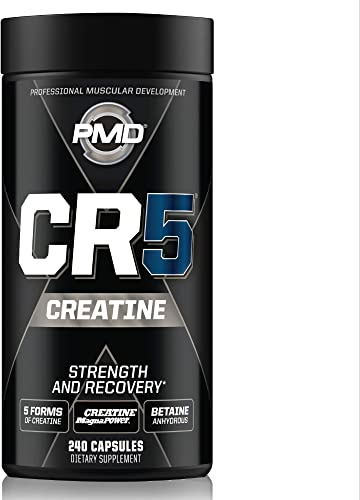PMD Sports CR5 Professional Creatine Complex – Strength Training, Cardio Exercise, Athletic Performance, Lean Muscle Mass, Fast Recovery and Reduce Soreness – 240 Capsules