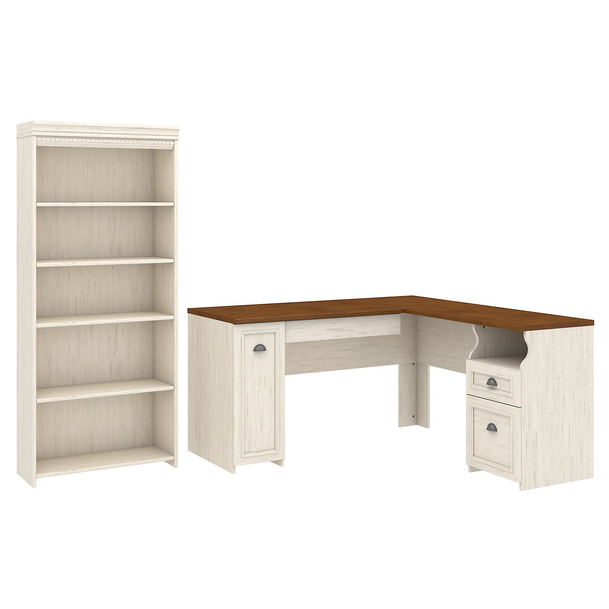 Bush Furniture Fairview L Shaped Desk and 5 Shelf Bookcase in Antique White