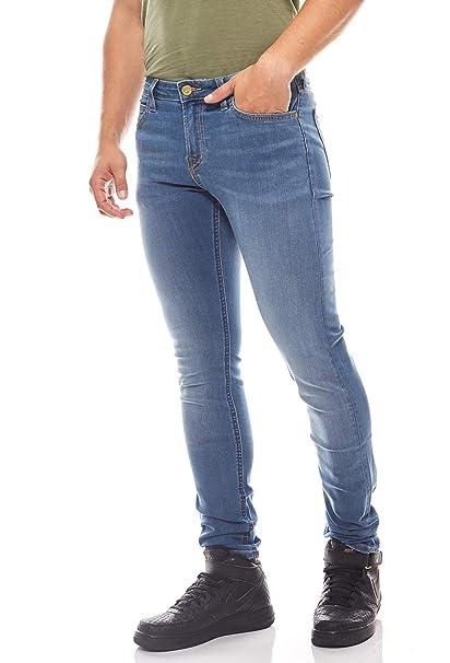 Lee Malone Skinny Hombres de los pantalones vaqueros azules ...
