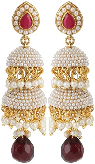 9ad6ef8c0 Buy FadHut White Pearls Long Double Layer Red Stone White Pearls Jhumka  Earrings Online at Low Prices in India | Amazon Jewellery Store - Amazon.in