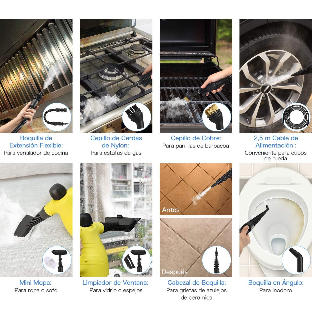 Ba/ños para Limpieza Profunda en Alfombras 9 Piezas de Accesorios Asientos de Coche 1050W con Presi/ón Alta Holife 9-en-1 Limpiador de Mano Limpizador de Vapor Esquinas de Cocina