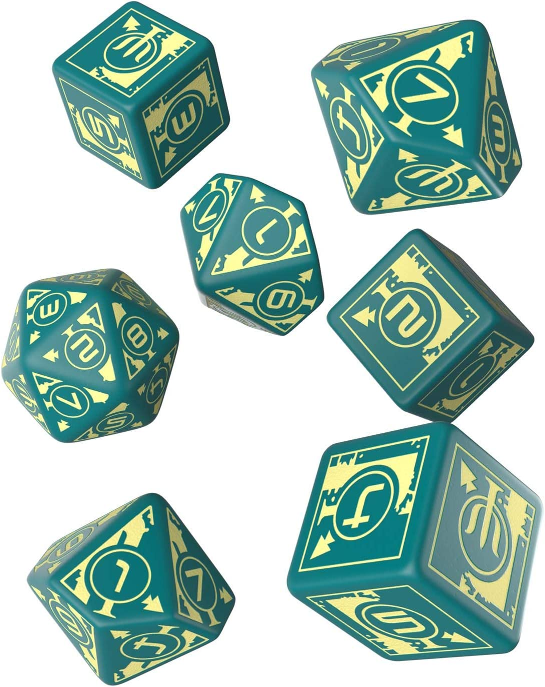 Q WORKSHOP Starfinder Against the Aeon Throne Rpg Ornamented Dice Set 7 Polyhedral Pieces