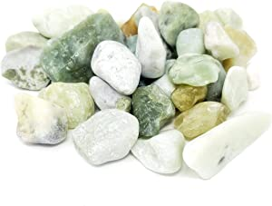 Beach Treasures Natural Polished Rocks - Jade Stones - Pebbles - Decorative Rocks for Terrariums, Aquariums, and Gardens - (2.5 lbs/Pack)