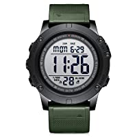Men's Digital Sport Watches Waterproof Military Tactical Style with LED Backlight Rubber Strap Big Face Watch for Men
