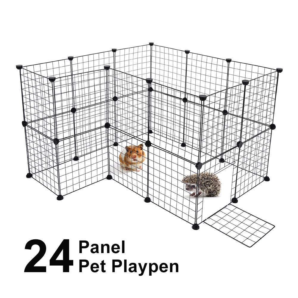 DIY Dog Playpen kennels, Foldable Small Animal Exercise Pen Includes Door Animal Grid Cage for Guinea Pig Dog Cat Rabbit Ferret Outdoor and Indoor Play, Black 24 Panels by Greensen