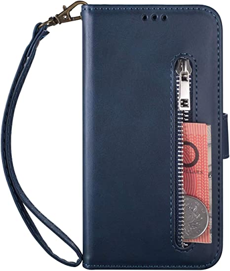 Funda para Samsung Galaxy A21 Funda Libro, Cartera Estuche Antigolpes Golpes de Cuero con Libro de Cuero Flip Case, Carcasa PU Leather con TPU Silicona Case Interna Suave Cierre Magnético azul: Amazon.es:
