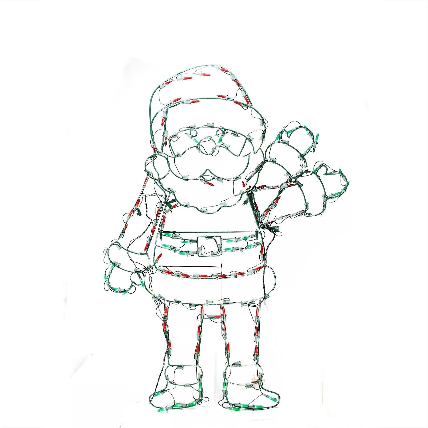 ProductWorks 48-Inch Pro-Line Animotion Waving Santa Christmas Decoration with 200 LED Lights