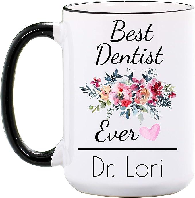 Floral Worlds Best Dentist Coffee Mug