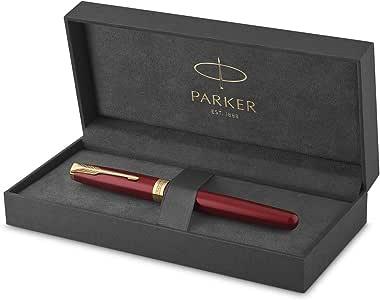 Parker Sonnet - Pluma estilográfica (lacada en rojo, con adorno dorado y plumín de punto fino, en estuche): Amazon.es: Oficina y papelería