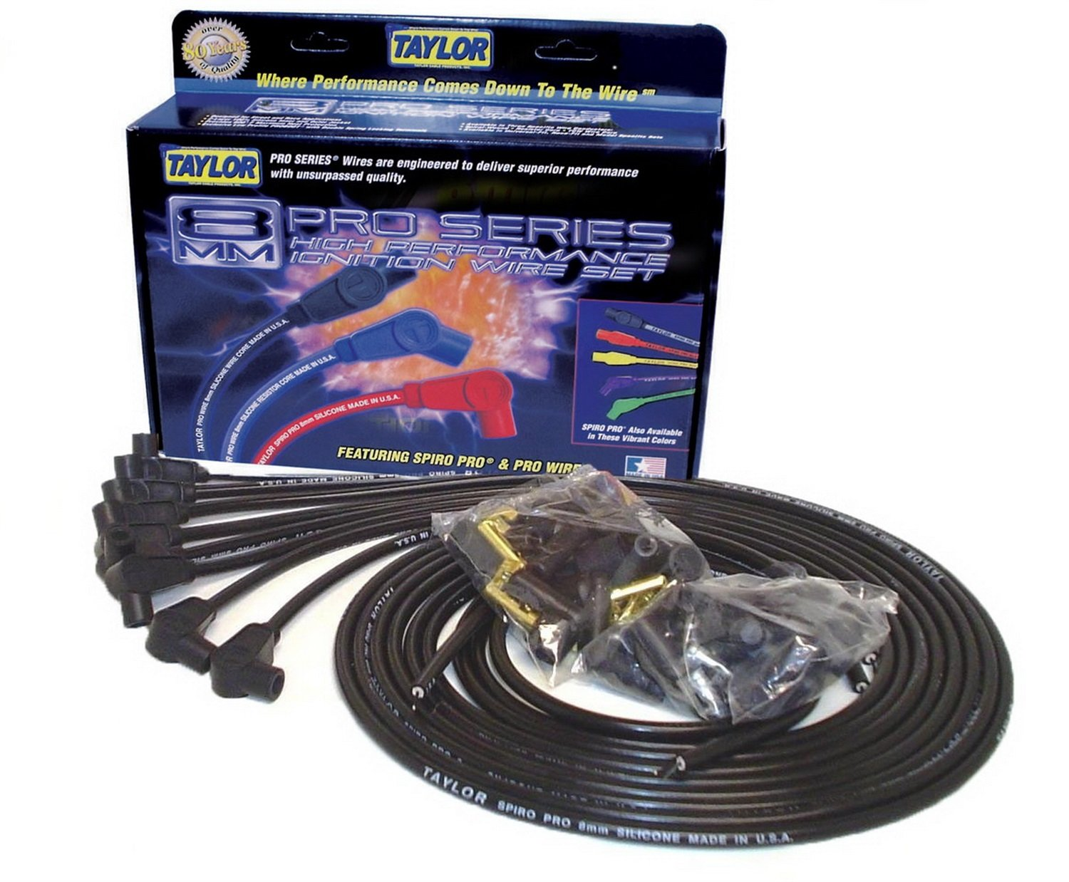 Taylor Cable 73051 Spiro-Pro Black Spark Plug Wire Set by Taylor Cable