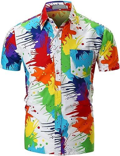 QinMM Camisa de Manga Corta Multicolor para Hombre, Blusa Estampada Camiseta (Multicolor, XL): Amazon.es: Ropa y accesorios